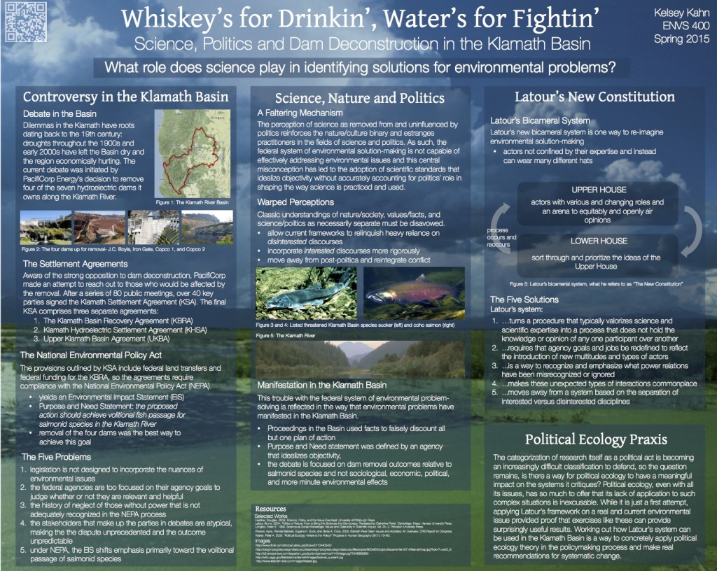 Water's for Drinkin', Whiskey's for Fightin': Science, Politics and Dam Deconstruction in the Klamath Basin
